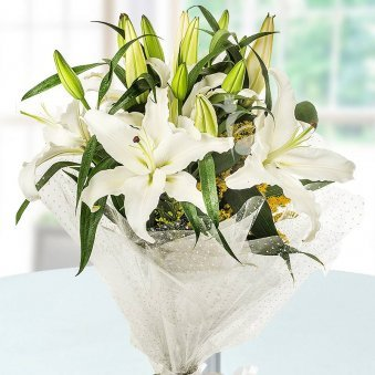 6 White Lilies Bunch on Table