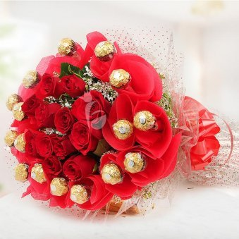 Rosy Rocher Bouquet - Combo of 16 Yummy Ferrero Rocher Chocolates and 10 Fresh Red Roses