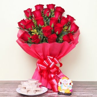 Revered Tokens - Diwali Gift Pack of God Idol and Sweets with 20 Red Roses Bunch