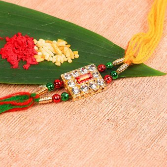 Astonishing Red Stone Rakhi