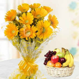 Thank You Papa - A gift hamper of 10 Yellow Gerberas and 2 Kg fresh seasonal fruits in a basket