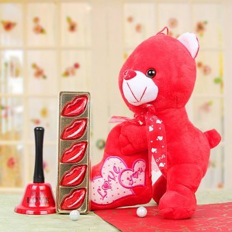 Combo of Teddy and Chocolates with a Love Bell
