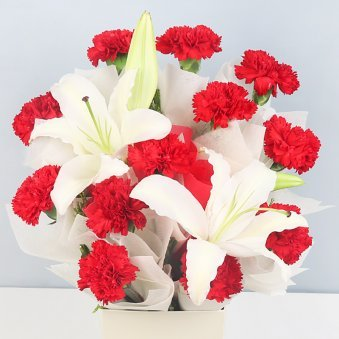 12 Red Carnations and 2 Lilies with Zoomed in View