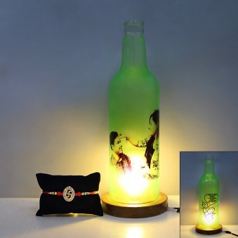 Swastik Rakhi with Personalised Bottle Lamp