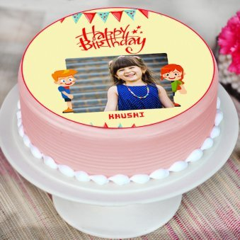 Cheerful Photo Cake Round Personalised For Kids