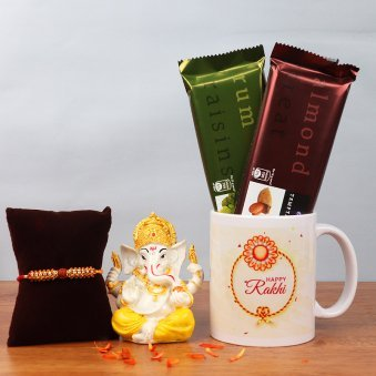 Rakhi and Ganesha Idol with Two Cadbury Temptations and Printed Mug