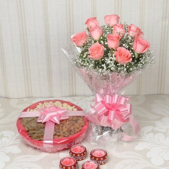 Diwali Combo of Flowers and Dry Friuits with Diyas