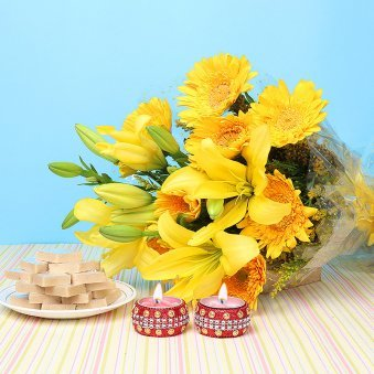 Diwali Combo of Sweets with Flowers and Diyas