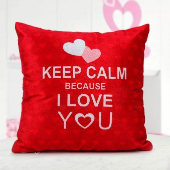 12x12 Bright Red Keep Calm Because I Love You Quoted Cushion