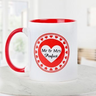 Mr and Mrs Perfect white and red duotone Mug