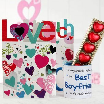 A Love You So Much Card Pack Of Heart Shape Handmade Chocolates And My Adorable Boyfriend