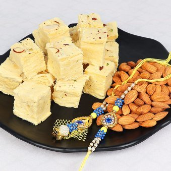 Two Rakhi Set with Soan Papdi and Almonds
