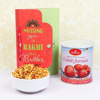 Rakhi and Card with Navrattan Namkeen and One Kg Gulab Jamun