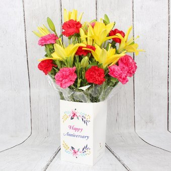 Bunch of Lilies and Carnations for Anniversary