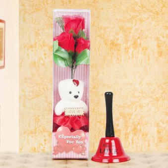 Teddy with rose and love bell combo