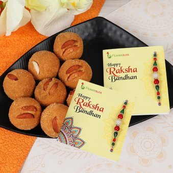 Two Rakhis with Half Kg Besan Laddu