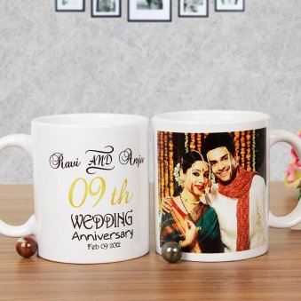 Spell The Vows Again Personalised Anniversary Mug with Both Side View