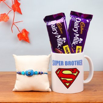 Rakhi with Two Dairy Milk Crackle and Printed Mug
