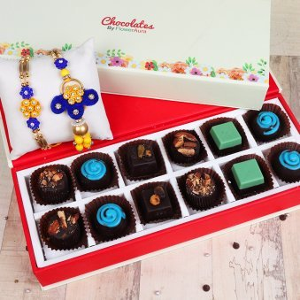 Rakhi Set for Bhaiya and Bhabhi with Twelve Handmade Chocolates