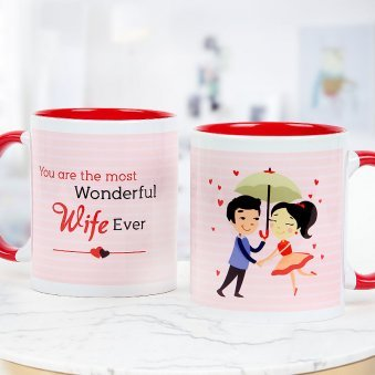 You are the most wonderful wife ever pink and red duotone mug