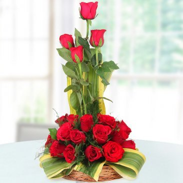 18 Red Roses in Basket