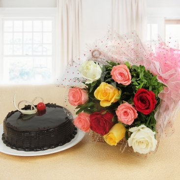 Endless Love - A gift hamper of 10 mixed roses with half kg chocolate cake