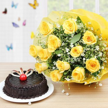 Joyous Celebrations - Combo of 12 Yellow roses bunch and Half Kg Chocolate cake