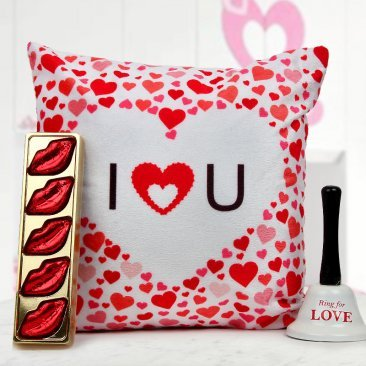 12x12 I LOVE YOU cushion A pack of lip-shaped handmade Chocolate and A Ring For Love Bell