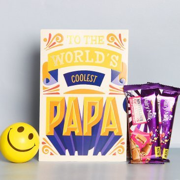Greeting Card and Smiley Ball Alongwith Chocolates Gift Combo for Dad