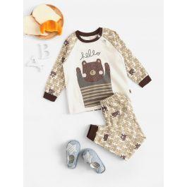 Boys Bear Print Pajama Set