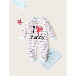 Baby Wave & Letter Print Popper Jumpsuit