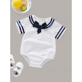 Baby Sailor Collar Button Back Bow Romper
