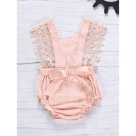 Baby Contrast Lace Bow Front Frill Romper