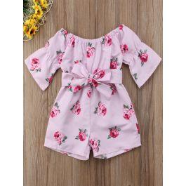 Toddler Girls Floral Print Belted Romper