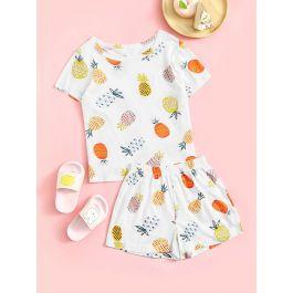 Toddler Girls Pineapple Print Pajama Set
