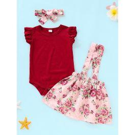 Baby Ruffle Romper & Floral Print Straps Skirt & Headband