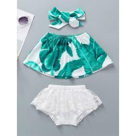 Baby Girl Tropical Print Bandeau & Contrast Lace Shorts & Headband