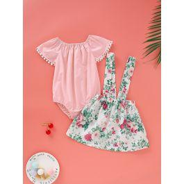 Baby Girl Contrast Lace Romper With Floral Print Straps Skirt