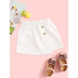 Toddler Girls Solid Button Front Wrap Skirt