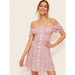 Ditsy Floral Frill Trim Off Shoulder Dress