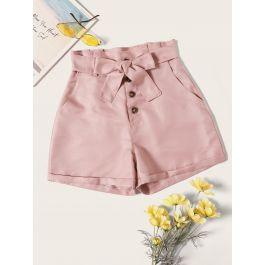 Button Front Belted Paperbag Shorts