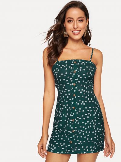 Button Front Knot Back Floral Cami Dress