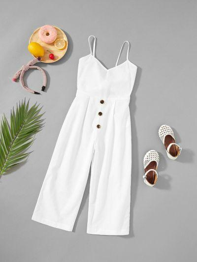 Girls Button Up Front Cami Jumpsuit