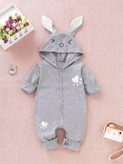 Baby Cartoon Print Button Hooded Onesie