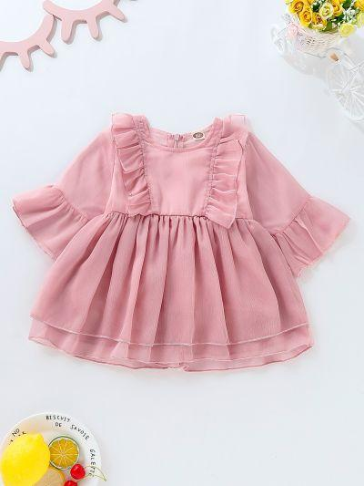 Toddler Girls Ruffle Zip Back Babydoll Dress