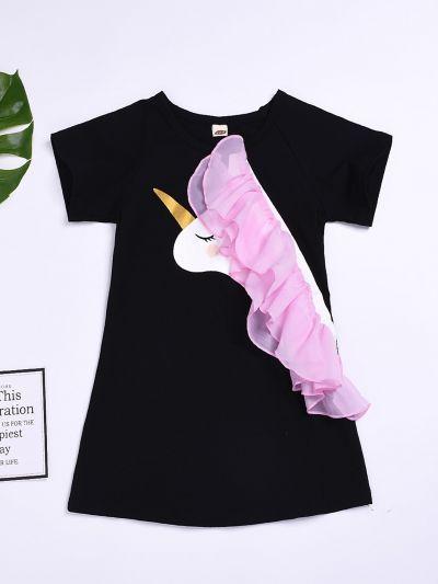 Toddler Girls Contrast Mesh Unicorn Print Dress