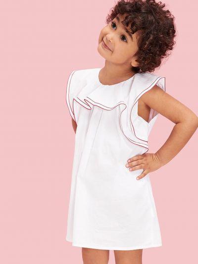 Toddler Girls Contrast Stitch Ruffle Trim Dress