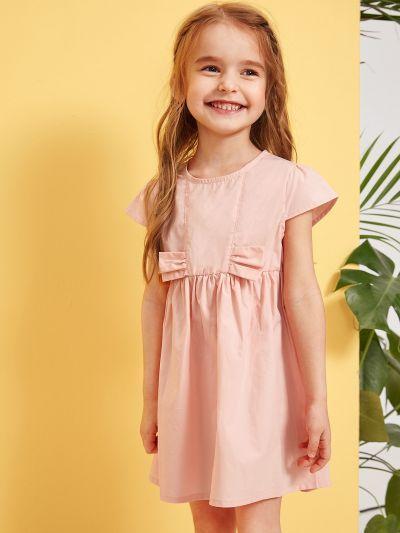 Toddler Girls Zip Back Solid Smock Dress
