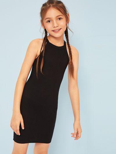 Girls Form Fitting Racer-back Dress