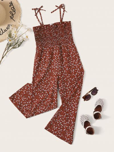 Girls Ditsy Floral Knot Shoulder Shirred Palazzo Jumpsuit